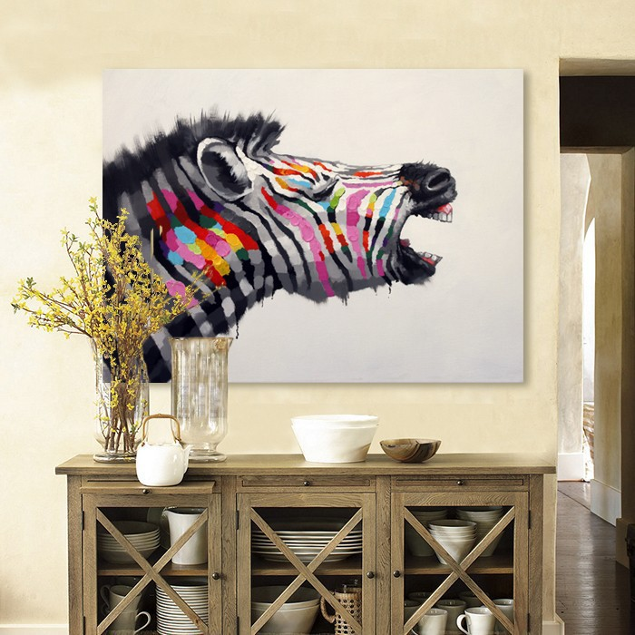 High Quality Cheap Price Handpainted Pictures Home Decor Oil Painting Horse Painting Modern Animal Abstract Canvas