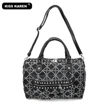 KISS KAREN Fashion Rivets Denim Women Bag Vintage Women Totes Jeans Ladies Handbags Women's Shoulder Bags Casual Tote Bag все цены