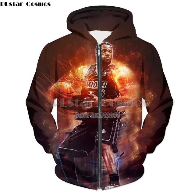 hot sale online 73a75 a90e3 PLstar Cosmos 2018 New Fashion 3D Print LeBron James Zipper Hoodie Zip Up  Jacket Hoodies Men Women Crewneck Sweatshirt
