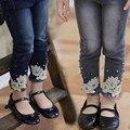 Новая коллекция весна малыш девушка джинсы штаны детей мода девочка джинсовые брюки высокое качество детей брюки свободного покроя девушки брюки