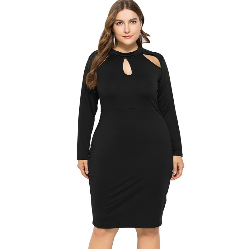 Spring Women Hollow Out Collar Bodycon Dress  Sexy Vintage Plus Sizes 4XL Elegant Pencil Dresses Long Sleeve Party Vestidos