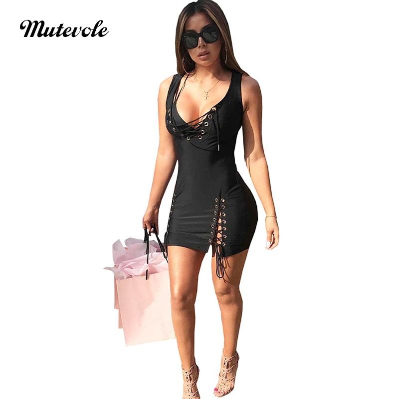 mutevole sexy party dresses women 2018 summer night club dress hollow out bandage lace up spaghetti strap sleeveless tank dress