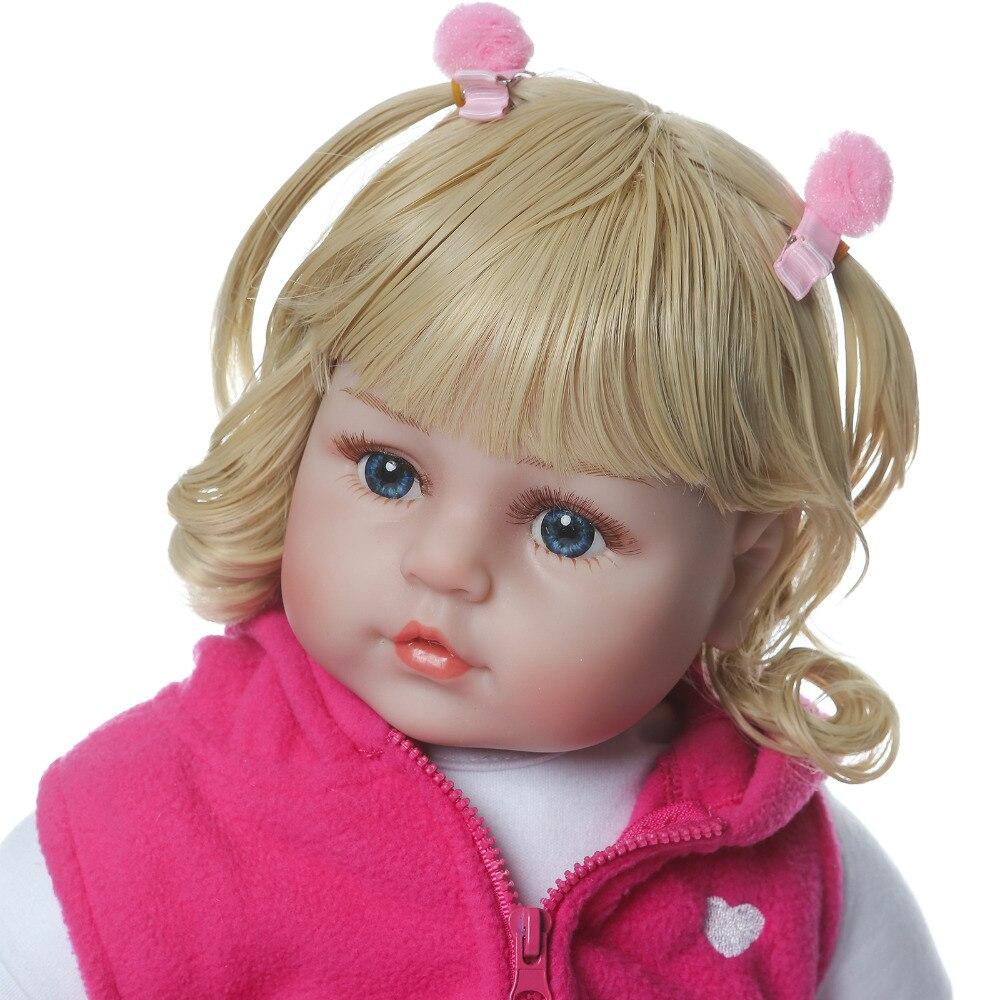 Nicery 23 24 inch 58 60 cm bebe reborn doll 부드러운 실리콘 소년 소녀 장난감 reborn 아기 인형 어린이를위한 선물 blond curls pink giraffe-에서인형부터 완구 & 취미 의  그룹 3