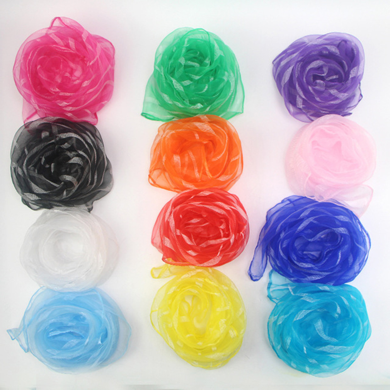 60*60cm Women Stripe Headscarf Candy Solid Color Scarfs 20pcs/pack Chiffon Nylon Children Performance Variety Show Dance Scarves