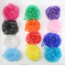 60*60cm Women Stripe Headscarf Candy Solid Color Scarfs 20pcs/pack Chiffon Nylon Children Performance Variety Show Dance Scarves