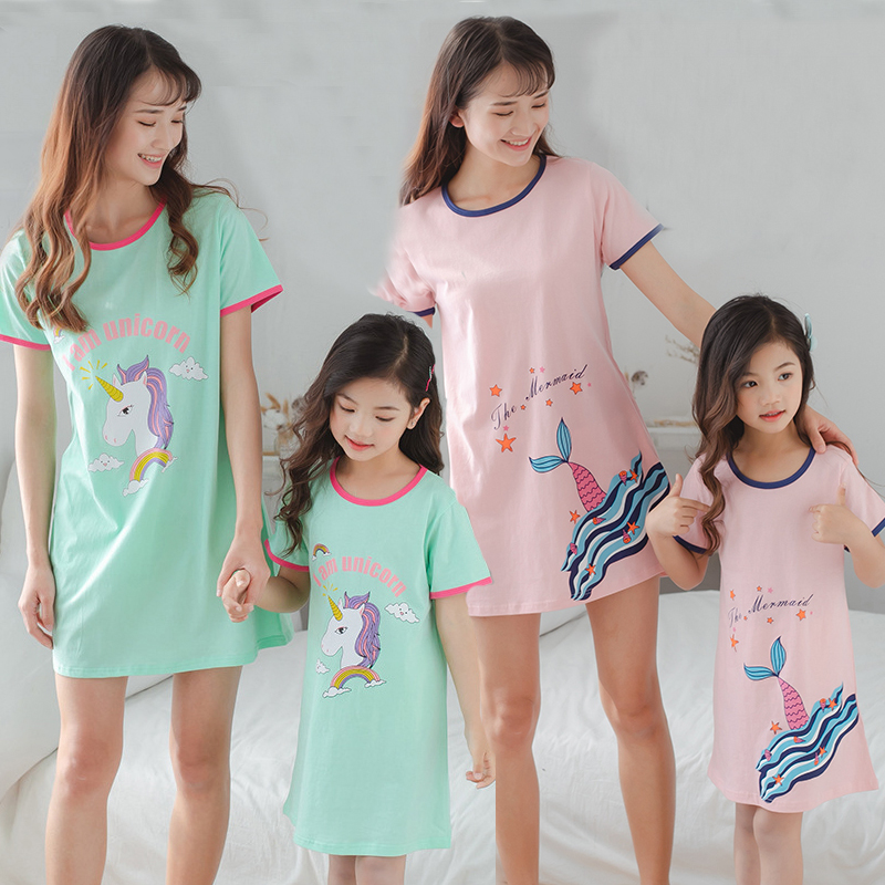 New Children's Nightdress Baby Mother Cotton Pajamas Girls Parent-child Sleepwear Unicorn Nightgown Nighty Kids Princess Dress