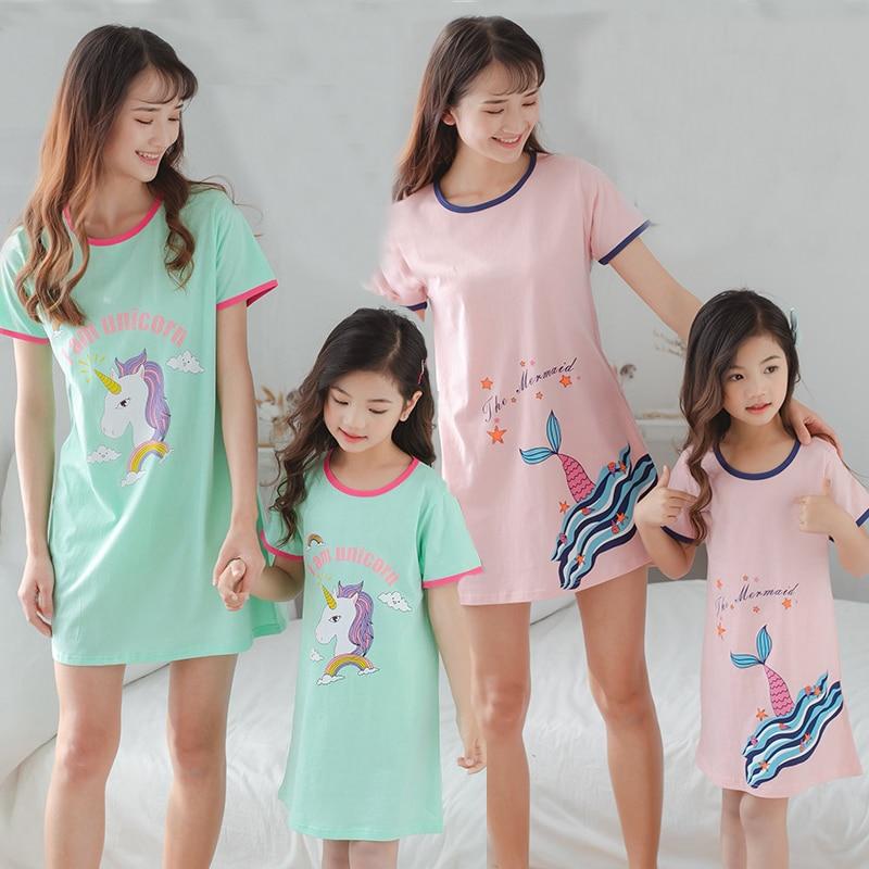 New Children's Nightdress Baby Mother Cotton Pajamas Girls Parent-child Sleepwear Unicorn Nightgown Nighty Kids Princess Dress
