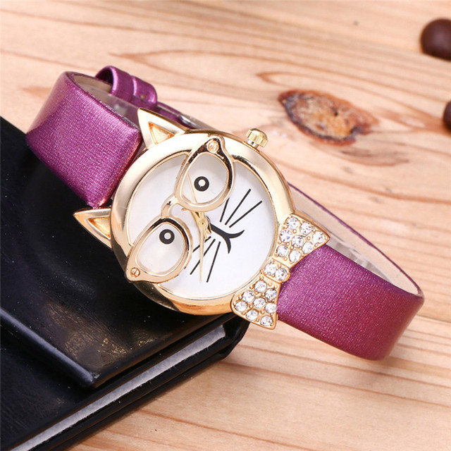 Watch Women Student Glasses Cat Leather Casual Fashion Female Watches Luxury Bra