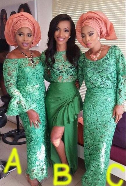 5574459a9 Verde Vestido de dama de Honor Larga Vestidos de dama de Honor Larga de La  Boda