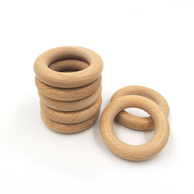 50mm DIY Organic beech Ring round beech Wood rings teether nursing toy super smooth  new WC051c