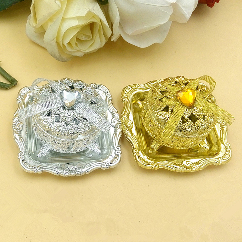Gold-plated Silver Treasure Chest Candy Box Free Shipping