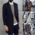 Chaqueta de Los Hombres Nueva Marca de Moda Largo Blazer Hombre Ocasional Delgado Medio-largo Traje de Chaqueta de la Capa Sólida dj481