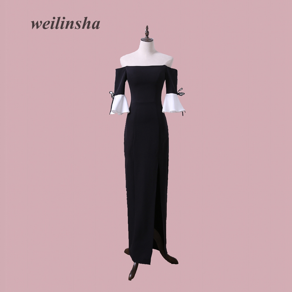 weilinsha New Arrival Straight Evening Dresses Cheap Jersey Contrast Color Black with White Party Special Gowns Vestido de Festa