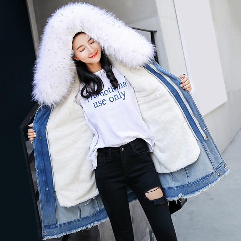 Winter Women Outerwear 2018 New Thickening Loose Female Denim Cotton Jacket Hooded Fur Collar Medium Long Ladies   Parkas   Cw167