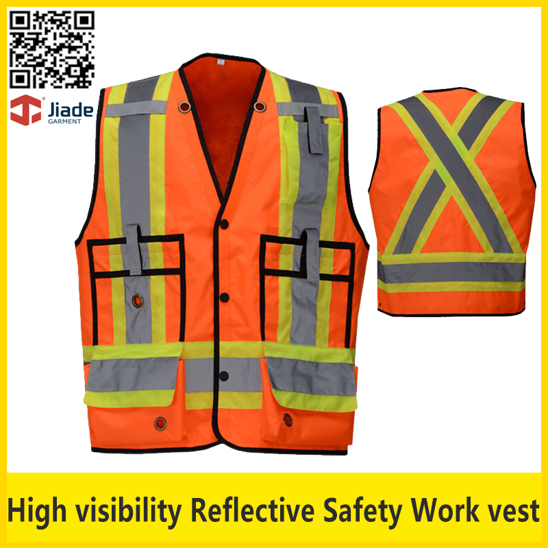 Jiade Two tone high visibility hi vis viz safety vest reflective waistcoat for work traffic EN20471 ANSI107 FREE SHIPPING good sale reflective safety vest 2 strips waistcoat for construction traffic warehouse green