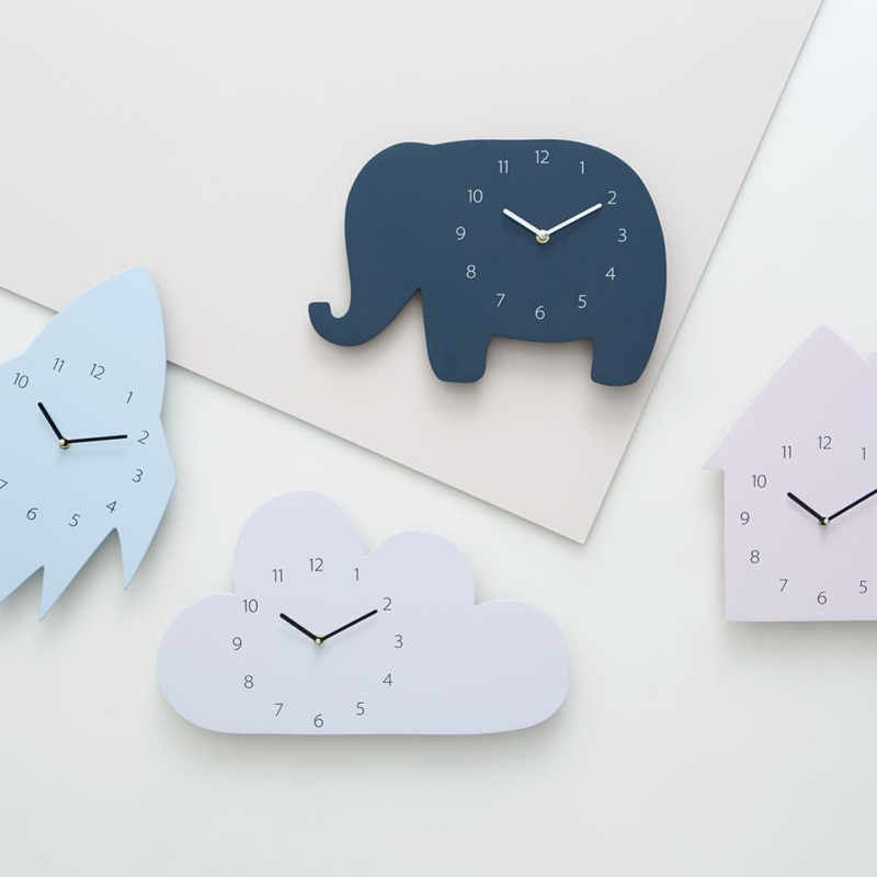 Nordic Style Nursery Kids Decor Clock Swan Bear Cloud Wall Hanging Wood Toys Model Baby