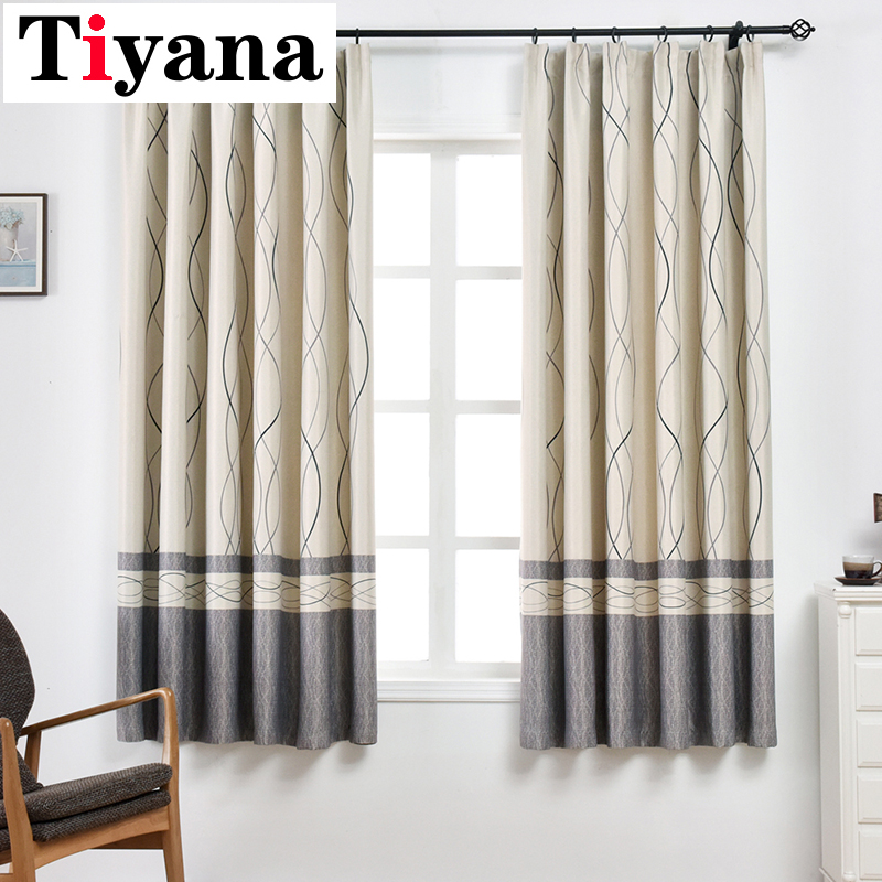 Modern Wavy Striped Short Curtains Drapes For Bedroom Kitchen Living Room Home Decortive Thick Window Cortina PC08Y