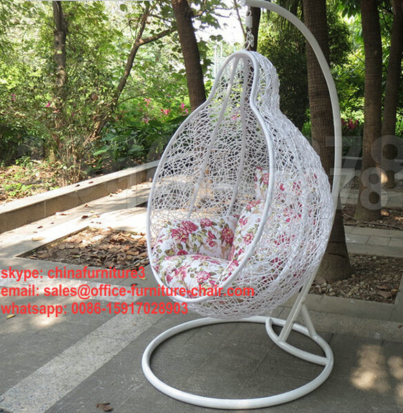 Cheap Price Indoor Outdoor Patio Garden Rattan Hanging Egg Basket Swing  Chair With Metal Stand