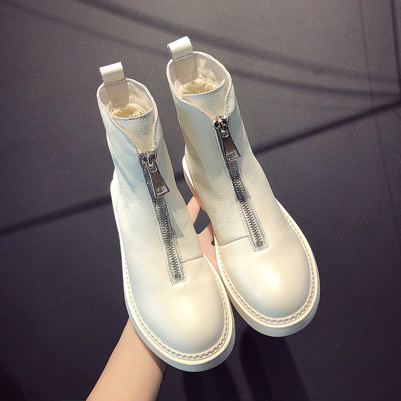Leather front zip booty women's new cotton padded boots in autumn and winter 2018 winter boots women women boots