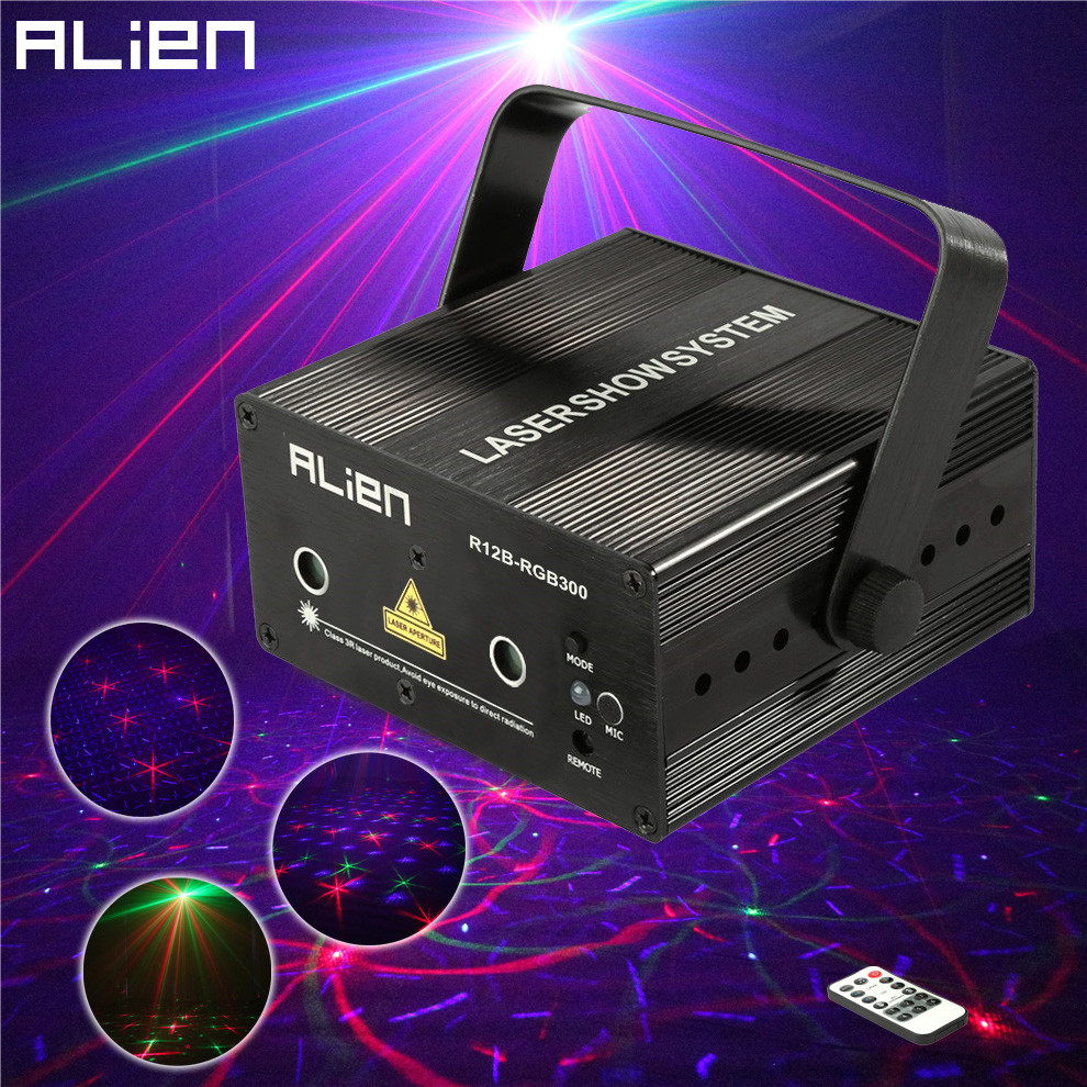 ALIEN Mini 300mw Remote Laser Stage Lighting Effect Red Green Blue Mixing DJ Disco Light Party Xmas Laser Projector Show Light alien 300mw rgb stage lighting effect dj disco party home wedding laser projector light xmas remote laser system show lights