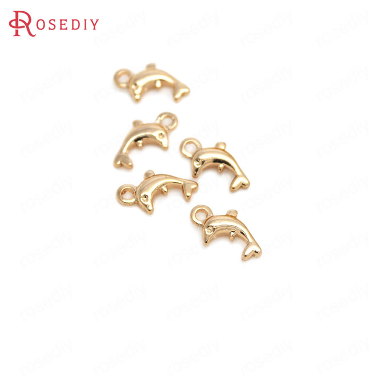 (30753-G)20PCS 6x11x2.5MM 24K Champagne Gold Color Brass Small Dolphin Charms Jewelry Making Supplies Diy Findings Accessories(China)