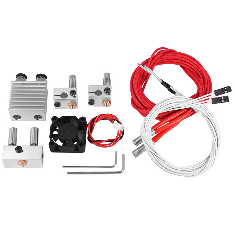 0 4Mm 1 75Mm Filament Two Into Two Out Extruder Kit Heating Block Nozzle Fan in 3D Printer Parts Accessories from Computer Office