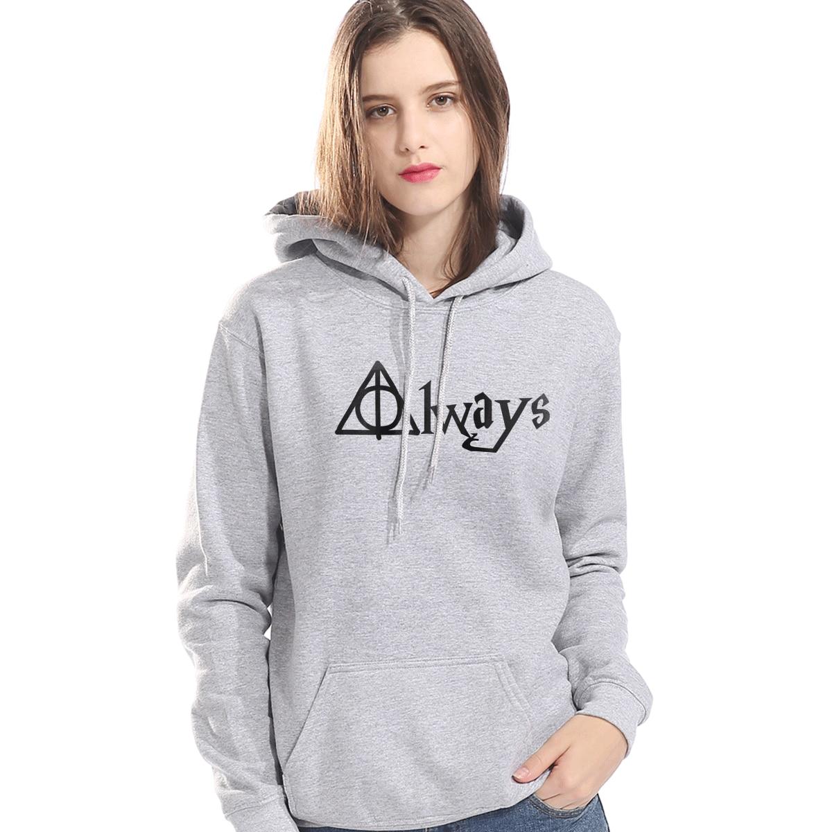 Fashion Womens Clothes 2019 Winter Fleece Hoodie For Women Hip Hop Sweatshirt Always Hallows Print Harajuku Tracksuit Streetwear