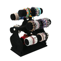 Velvet Rotating Jewelry Display Showcase Turntable Rotating Jewelry Watch Bracelets Stand Display Jewelry Organizer Shelf