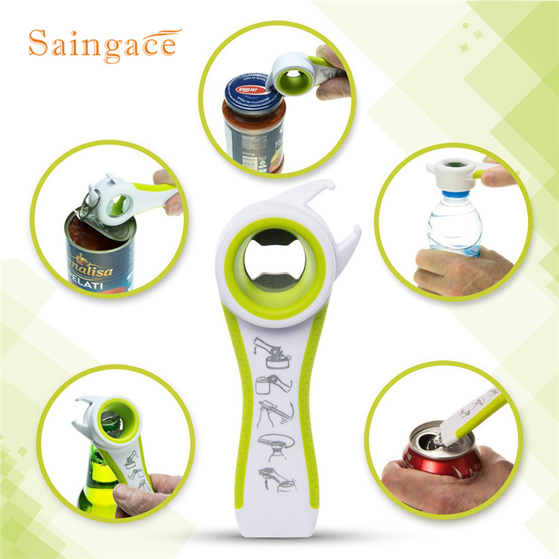 Home Kitchen Multifunction 5 in 1 Bottles Jars Cans Manual Opener Tool Gadget Openers u70710