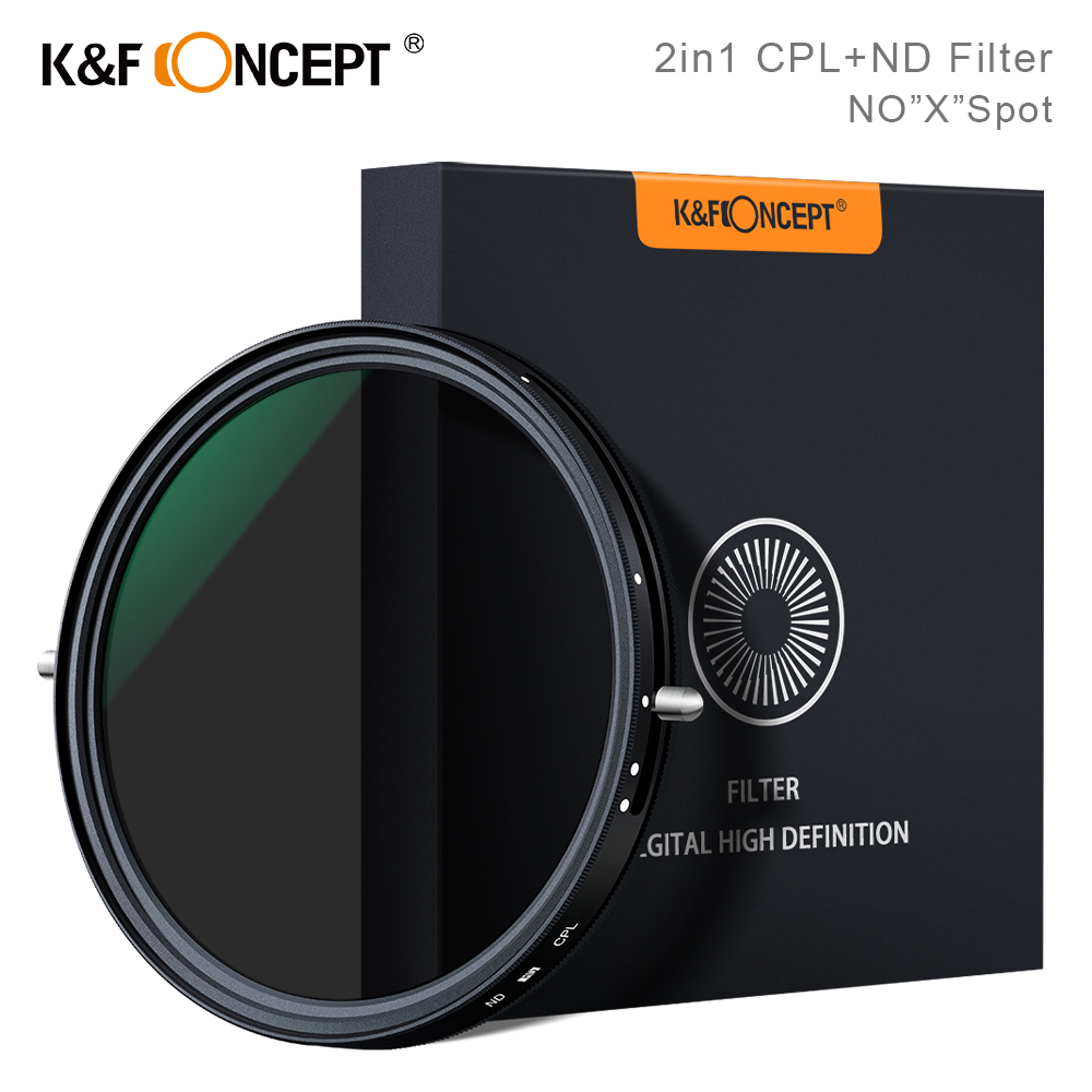 K F Concept 2in1 Fader Variable ND Filter CPL Circular Polarizing Filter 67mm 72mm 77mm 82mm