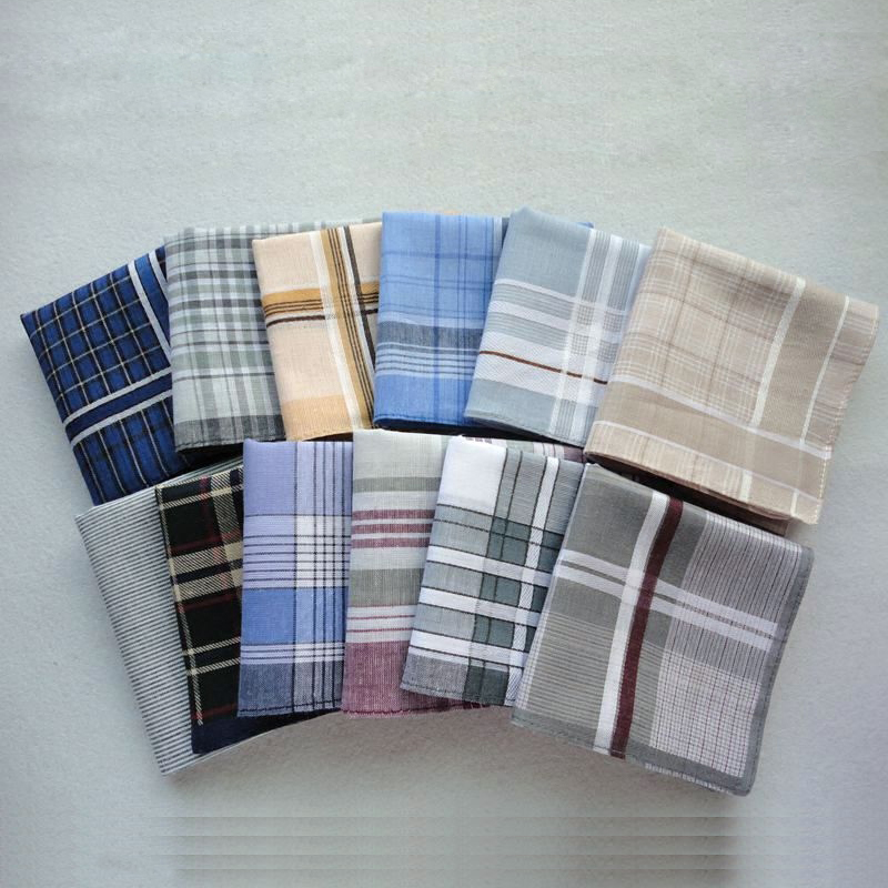 12pcs/lot Assembly Handkerchiefs Classic Plaid Check Mocket Women And Men 100% Cotton Hanky