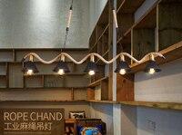 American Loft Creative Vintage iron Rope Pendant Lights Industrial Edison Bulb light For bar Living Room decoration lamp