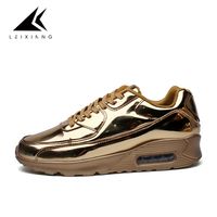 Fall2015 Air Cushion 90 Non Slip Running Shoes For Men Silver Leather Sneakers Shoes