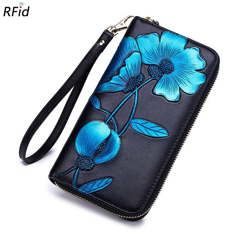 New Genuine Leather Wallet Women Flower Print Zipper Long Wallet Clutch Bag Female Purse Rfid Card Holder Wallet carteira DC366