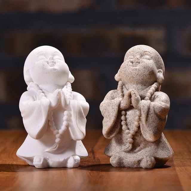 VILEAD 6cm 7cm Cute Little Monk Statue Sandstone Adorable Thailand Buddha Statuettes Lovely Figurine Home Decor Creative Gift 2