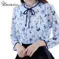 Корейских Женщин Блузка Рубашка Женская Лук Цветок Flouncing Рубашка Женщины Топы Девушкой Clothing Плюс Размер Девять Четверти Синий Блузка Женщины