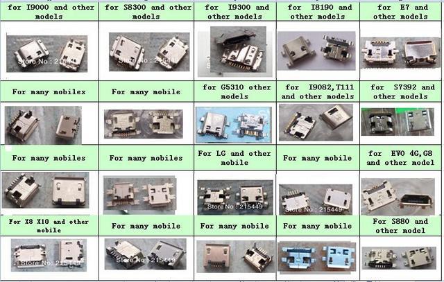 200 ピース/ロット 20 モデルマイクロ usb コネクタ samsung, nokia, lenovo, huawei, ZTE と他の携帯電話