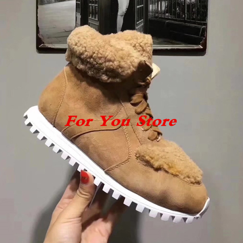 Luxury Brand Runway Star Shoes Fur Warm Women Winter Shoes Snow Boots Front Lace Up Shoes High Top Round Toe Chaussures Femmes round toe fur women snow boots lace up short booties fashion flats korea stylish winter warm shoes ankle boots luxury brand shoe