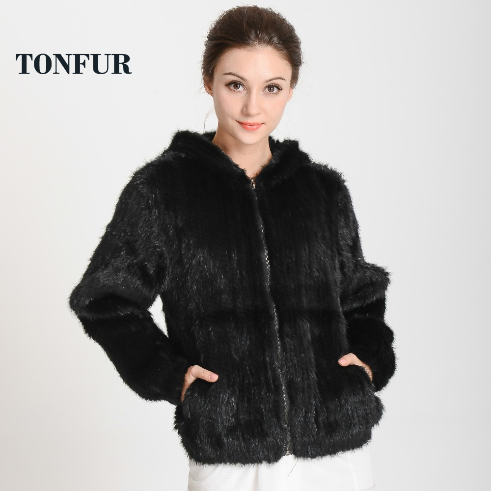 2019 New Arrival Knitted Mink Fur Coat Hood With Zipper Top Sell Genuine Fur Jacket Fashion Free Shipping THP282