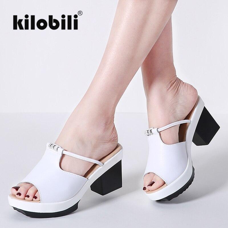 Kilobili ผู้หญิงรองเท้าแตะรองเท้าแพลตฟอร์มของแท้หนังสุภาพสตรี causal รองเท้าแตะส้นส้นแฟชั่น 2018 ฤดูร้อนใหม่-ใน รองเท้าส้นสูง จาก รองเท้า บน AliExpress - 11.11_สิบเอ็ด สิบเอ็ดวันคนโสด 1
