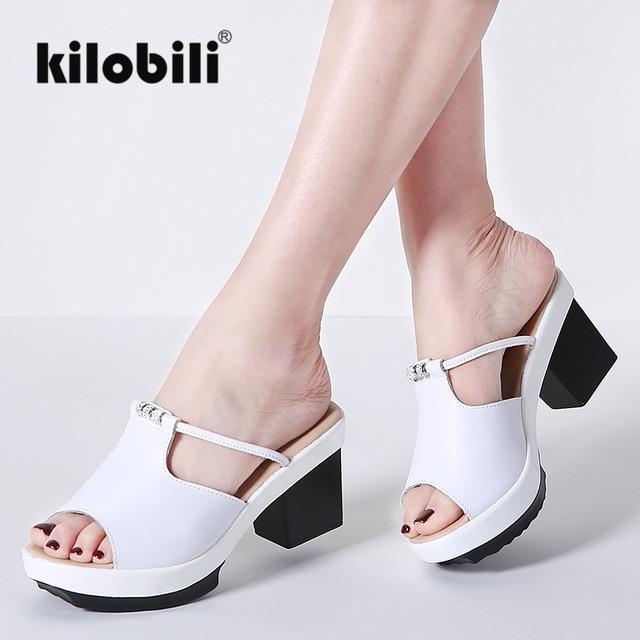 6cdb57213 Kilobili النساء الصنادل الأحذية منصة حقيقية الجلود الانزلاق على السيدات  السببية صندل عالية الكعب كعب مربع