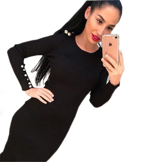 2017 dress mulheres outono inverno moda sexy bodycon malha midi dress sólidos manga comprida pacote hip dress vestidos lj7338c