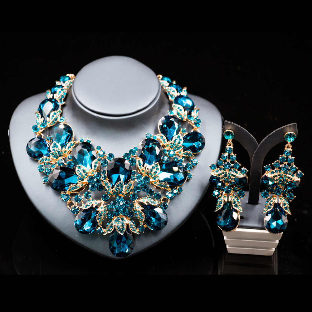 Lan palace fashion gold color jewelry rhinestone Austrian crystal necklace and earrings for wedding six colors free shipping ss16 3 8 4 0mm aquamarine color 10gross lot pointed back chaton rhinestone for jewelry accessory free shipping
