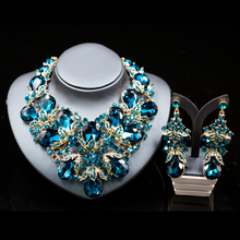 Lan palace fashion gold color  jewelry rhinestone  Austrian crystal necklace and earrings for wedding six colors  free shipping
