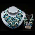 Lan palace fashion gold plated jewelry rhinestone  Austrian crystal necklace and earrings for wedding six colors  free shipping