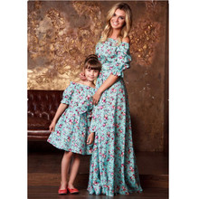 Matching Mum Mother and Daughter Clothes Family Evening Dresses Mom Baby Outfits Vestidos Slash Neck Floral Mommy and Me Dress