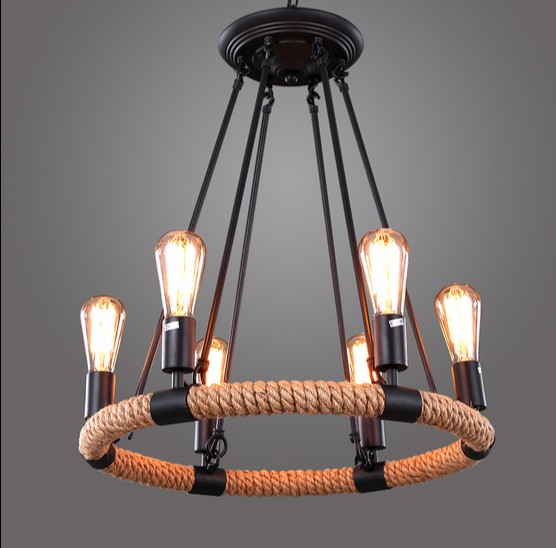 Loft Style Iron Rope Industrial Lamp Edison Vintage Pendant Light Fixtures For Dining Room Hanging Droplight Indoor Lighting american loft style hemp rope droplight edison vintage pendant light fixtures for dining room hanging lamp indoor lighting