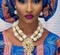 Великолепный Белый Коралл Бисера Африканских Ювелирные Колье Золотое Ожерелье Серьги для Невесты Бесплатная доставка CNR682