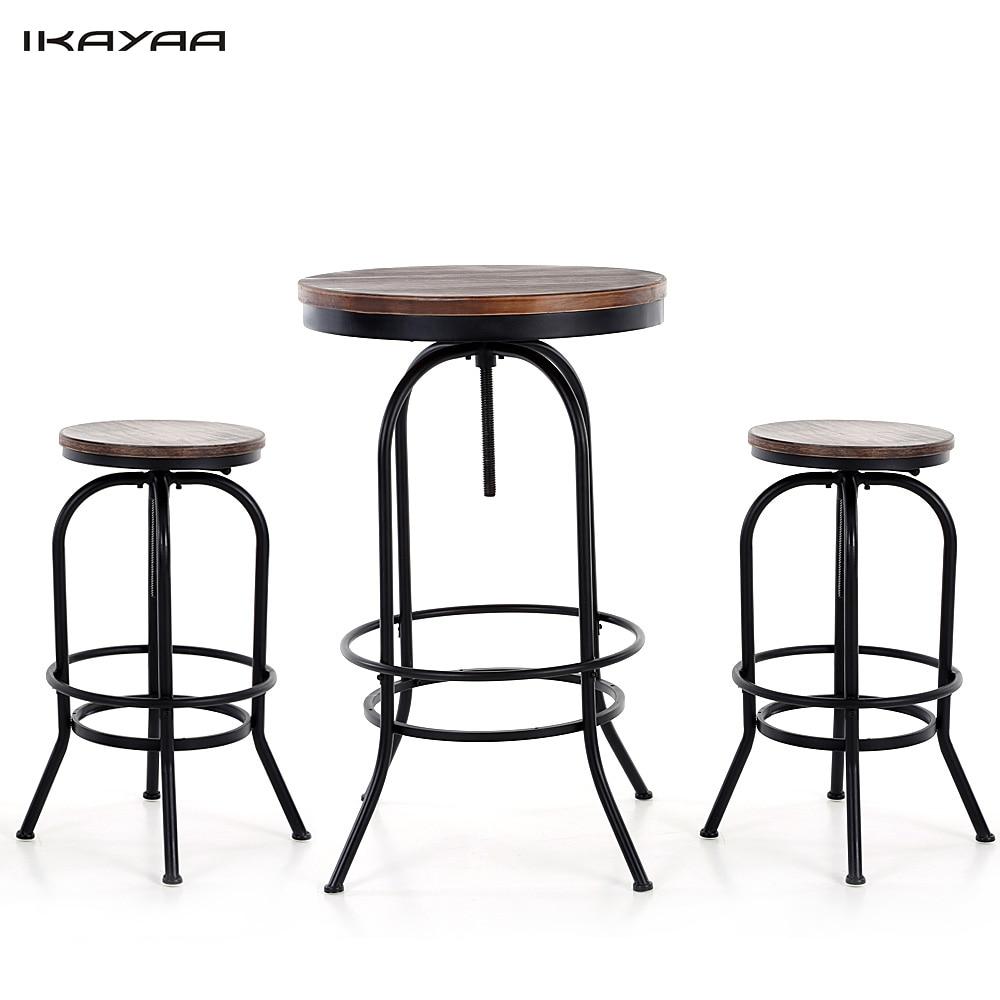 iKayaa US Stock 3PCS Pinewood Top Bar Pub Bistro Table font b Chair b font Set