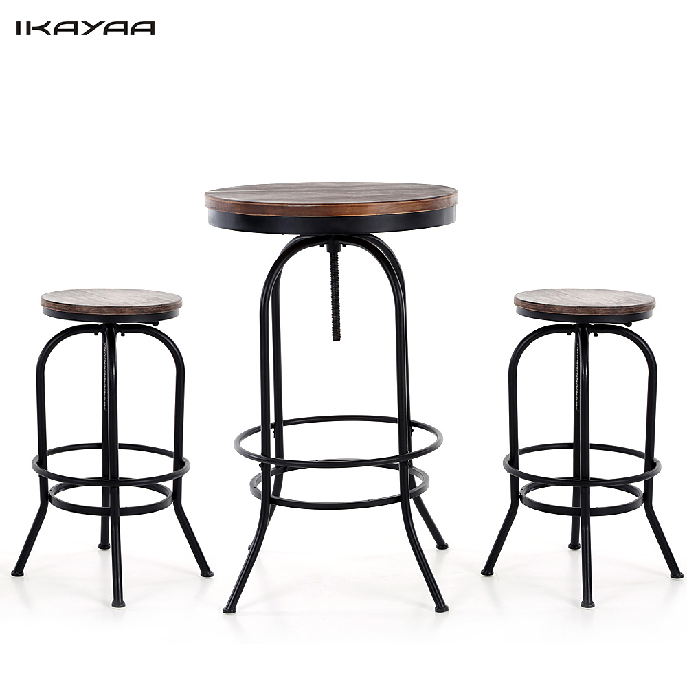 ikayaa us stock 3pcs pinewood top bar pub bistro table chair set industrial style swivel kitchen